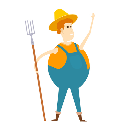 an agronomist: Cartoon farmer. Illustration of a cheerful farmer with a pitchfork on a white background.
