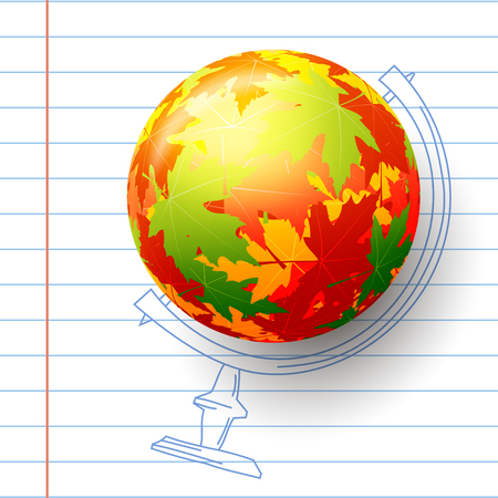 Concept autumn school. Childs drawing in the notebook. Sphere of autumn maple leaves,  abstract colored globe.