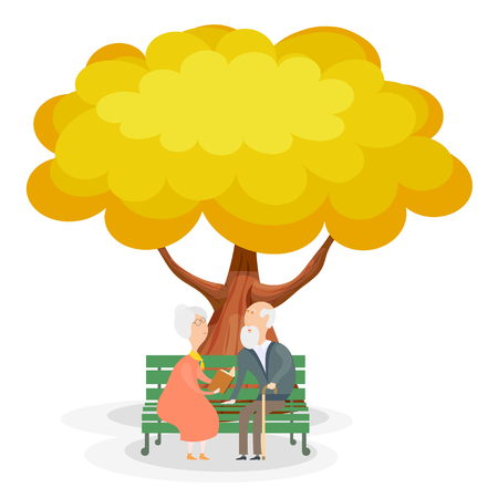 stroll: Old men on the bench. Elderly couple on a park bench under the yellow autumn tree.  Illustration of a happy marriage. Harmony in old age.