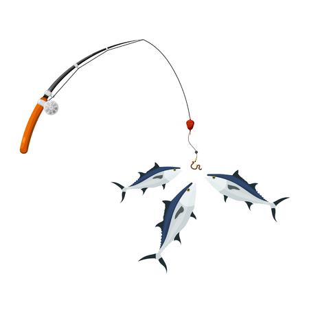 stile cartone animato. pacchetto spinnig e tonno su uno sfondo bianco. Illustrazione di pesca di successo per il tonno. hobby simboli e strutture ricreative gratuite. illustrazione Archivio vector