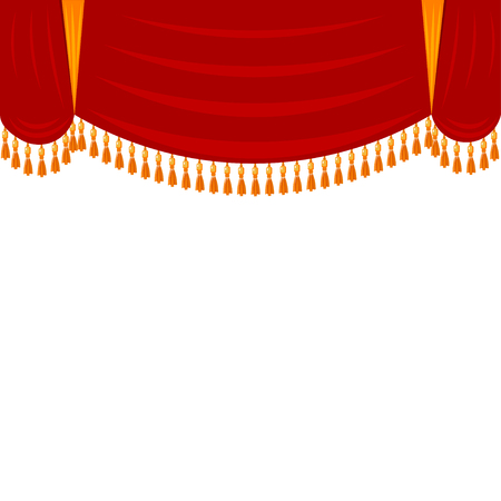 theatrical performance: Horizontal red curtain with gold fringe. Theatrical scenery, harlequin. Open the curtain  before the performance at the theater. Stock vector illustration