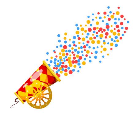 Cañón de la vendimia. estilo de dibujos animados. Imagen de un viejo cañón, lo que dispara el confeti. Armas de guerra y la agresión. Ilustración vectorial material Ilustración de vector