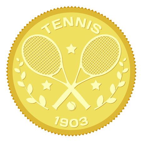 Gold medallion with the image of rackets and ball for tennis. Colored vector illustration of tennis. Stock vector illustration Illustration