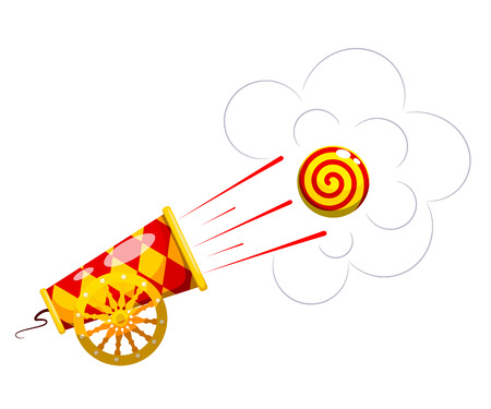 aggression: Vintage Cannon. Cartoon style. Image of an old cannon, which shoots the nucleus. Weapons of war and aggression. Stock vector illustration