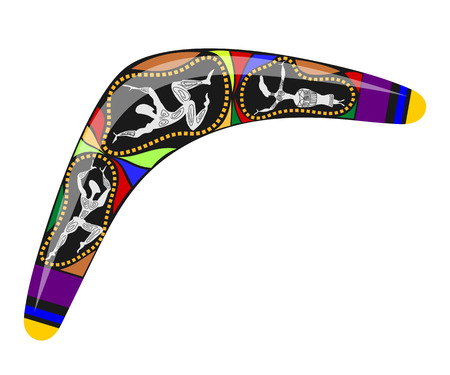 aborigines: Australian boomerang. Color drawing tool for hunting the aborigines of Australia. Stock  vector illustration