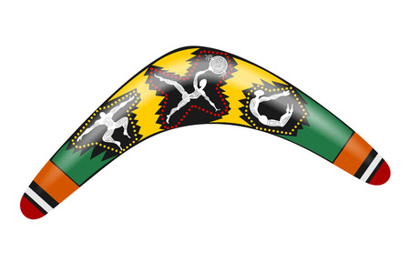 Australian boomerang. Color drawing tool for hunting the aborigines of Australia with  drawing of primitive people. Stock vector illustration