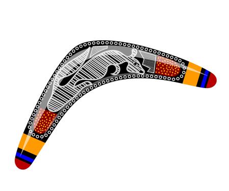 Australian boomerang. Cartoon boomerang on a white background. Boomerang withTribal kangaroo. Stock vector Illustration