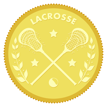 recreational pursuit: Gold medallion with the image of sticks and lacrosse ball. Colored vector illustration  lacrosse sport. Stock vector illustration Illustration