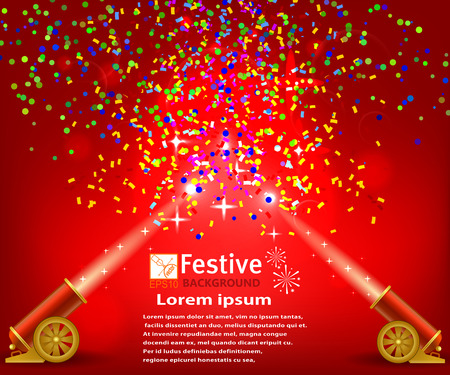 Bright festive red background with confetti and two firing cannons. Circus festival background. Stock vector illustration