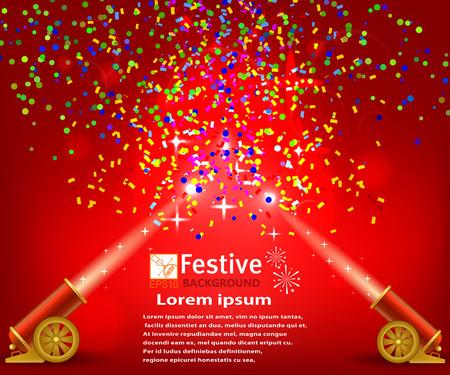 Heldere feestelijke rode achtergrond met confetti en twee afvuren kanonnen. Circus festival achtergrond. Voorraad vectorillustratie Vector Illustratie