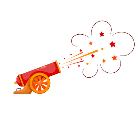 Vintage gun. Color image of medieval cannon firing on a white background. Cartoon style.  The subject of war and aggression. Stock vector illustration Ilustração