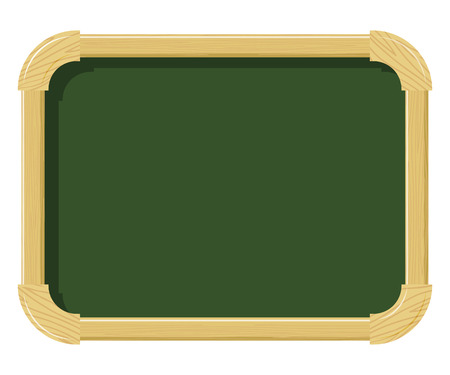 schoolwork: Wooden school chalk board with wood texture on a white background. Free space for  schoolwork. School supplies. Subject of the school interior. Stock vector illustration Illustration