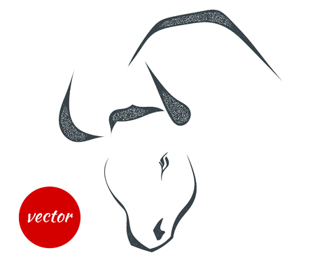 The black silhouette of a bulls cow head on a white background. Style grunge. Stock vector illustration.