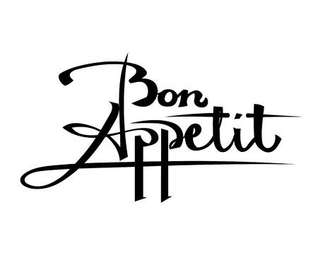 bon: Bon Appetit Black lettering on a white background. Stock vector illustration