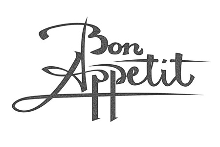 Lettering. The phrase bon appetite on a white background. The inscription in grunge style isolated. Stock vector illustration.