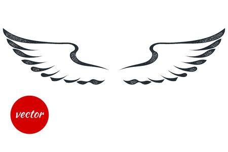 白の背景に黒を翼します。タトゥーのグランジが分離されました。株式ベクトル イラスト。