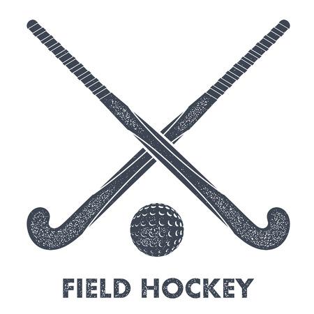 Twee zwarte silhouetten kaneel voor hockey en bal op een witte achtergrond met grunge textuur. Vector illustratie.