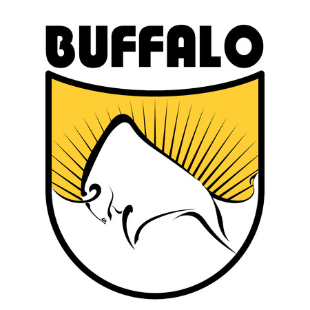 basis: Buffalo logo. Color vector image of a buffalo on a yellow background with rays. The basis of  your design. Stock vector illustration