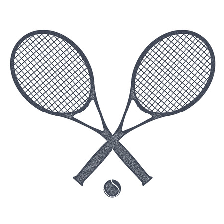 Two tennis rackets with a ball for tennis on a white background. Vintage style. Stock vector  illustration