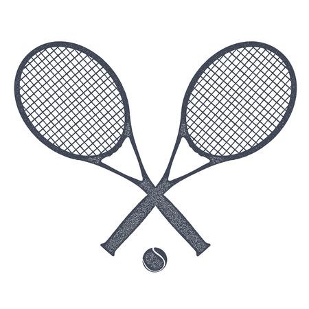 Twee tennisrackets met een bal voor tennis op een witte achtergrond. Vintage-stijl. Voorraad vectorillustratie