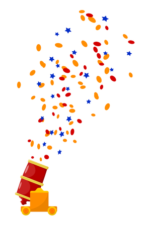 Bright red abstract color image gun with confetti on a white background. Cartoon cannon shooting confetti. Subject circus show. Stock vector illustration