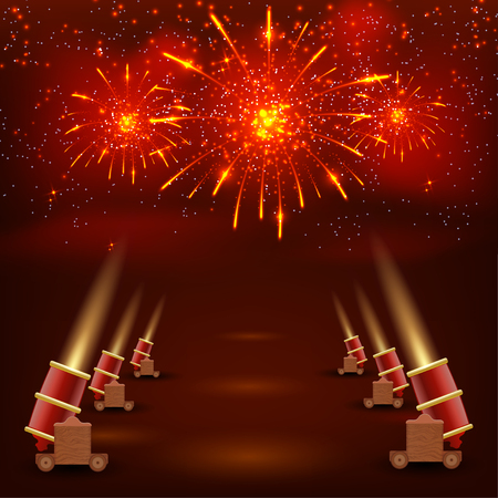 festive background: Festival red background. Red festive background with shooting guns and brightly colored confetti. Stock vector illustration
