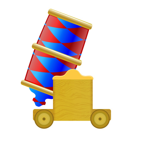 Circus colored vector catoon cannon on a white background. Stock vector illustration