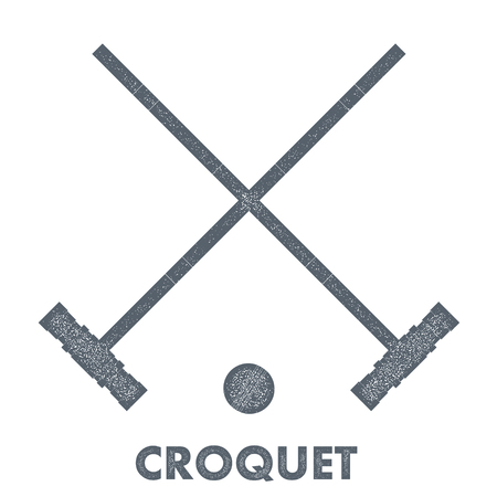 wicket gate: Sign croquet. Vintage style. Retro image objects croquet with texture on a white background.  Stock vector illustration