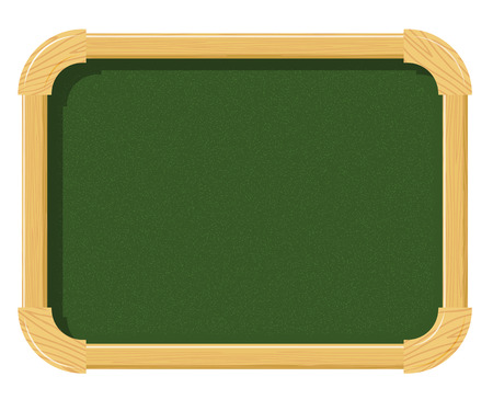 schoolwork: School green chalk board with wood texture on a white background. Free space for  schoolwork. School supplies. Subject of the school interior. Stock vector illustration