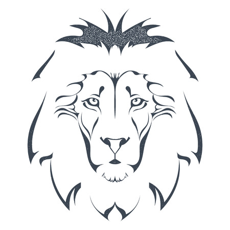Sketch black silhouette of a lion head isolated on white background. The king of all animals, grunge style. The strength and pride. Stock vector illustration.