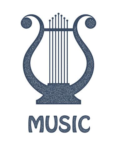 string instrument: Vector monochrome image of vintage Lyre on a white background. Ancient Greek music  string instrument. Stock vector illustration Illustration
