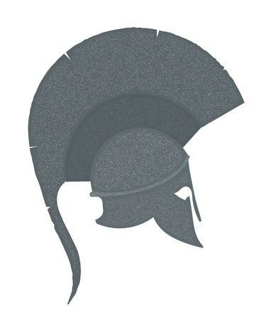 hoplite: Monochrome Illustration of the ancient Greek  helmet with a red crest on white background. Vintage design object for the historic site. Stock vector Illustration