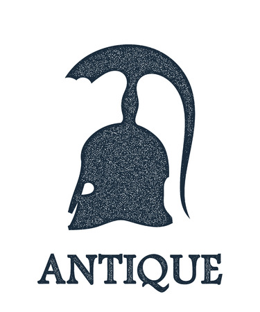 hoplite: Vector illustration of the ancient Greek bronze helmet with a grunge texture on white  background. Vintage design object for the historic site. Stock vector