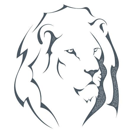 Grunge esquisse silhouette noire d'une tête de lion isolé sur fond blanc. Le roi de tous les animaux, le style grunge. La force et la fierté. Stock illustration vectorielle.