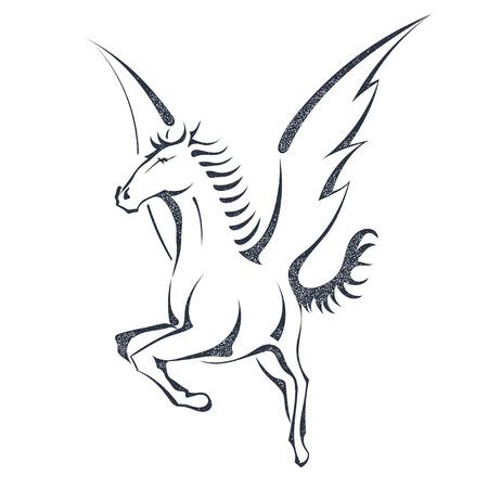 Grunge Skizze eines fliegenden pegasus, isoliert auf weißem Hintergrund. Einhorn. Vektor-Illustration. Standard-Bild - 61410066