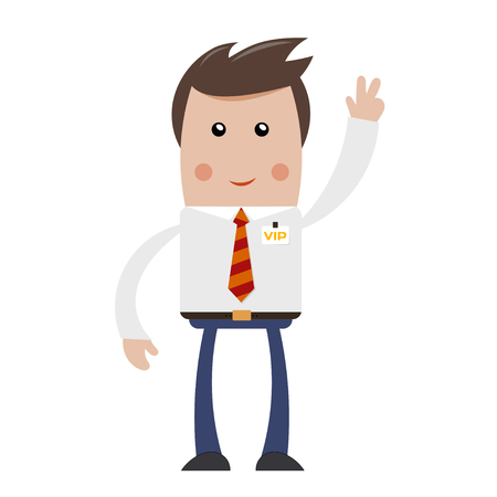 sleek: Businessman with VIP badge with raised hand and a sign of victory. Sleek style. Concept of a  successful business. Stock vector illustration Illustration