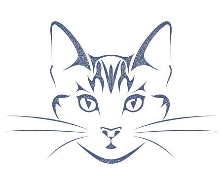 白い背景で隔離の猫頭の黒いシルエットをスケッチします。スタイル グランジ株式ベクトル図です。