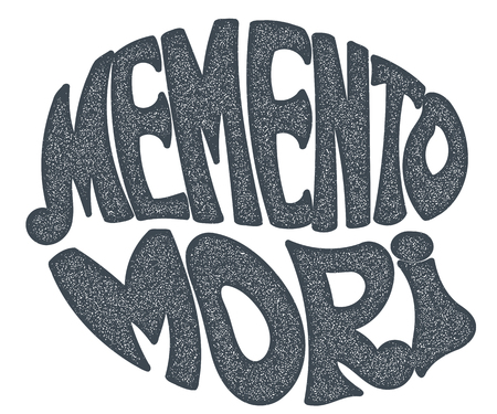 memento: Memento Mori - handmade designer label on a white background. Design element for  printing. Grunge style.Vector illustration Illustration