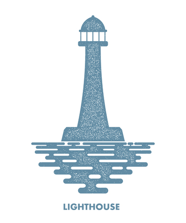 navigational light: Monochrome lighthouse with waves on a white background. Icon lighthouse. Illustration of a  lighthouse with the ocean waves - a sign of the marine club or community. Stock vector