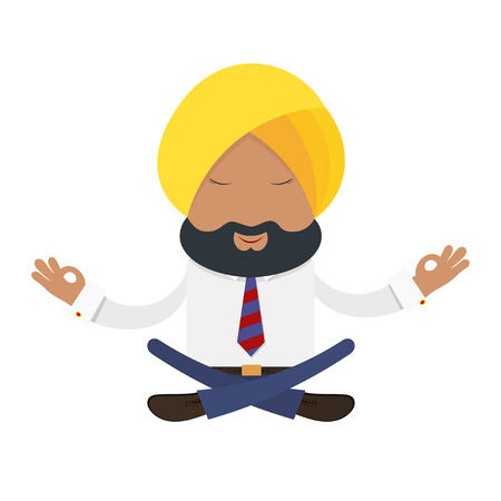 sikhism: Businessman in a yellow turban on a white background. Indian businessman in the national  yellow turban in the lotus position. Financial yoga, meditation. Stock vector