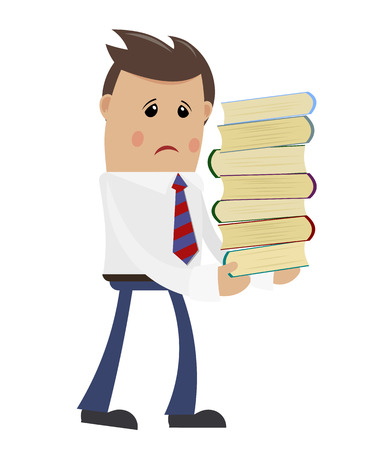carrying heavy: Businessman with books on a white background. Office worker carrying heavy books. The  flat style. Stock vector illustration