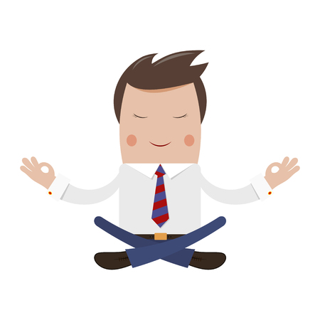 Happy successful businessman in the lotus position. Financial yoga. Office worker in  relaxation. Stock vector illustration