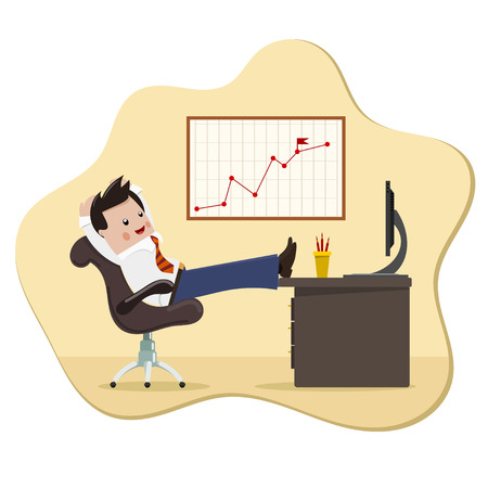 managing: Satisfied businessman. Color image of a happy successful young businessman in a chair with  feet on the computer desktop. Symbol of good luck and success in business. Stock vector  illustration