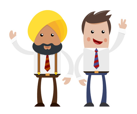and two friends: Two businessmen on a white background. Cartoon cheerful businessman. The flat style. The  concept of friendship and cooperation, and Indian American businessman. Stock vector  illustration Illustration