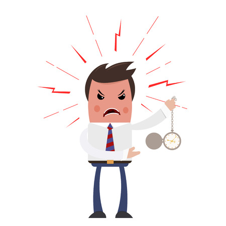 dispute: Angry boss on a white background. Sleek style. Unhappy with the head of a clock in his  hand. The color image is an industrial dispute. Business theme. Stock vector illustration