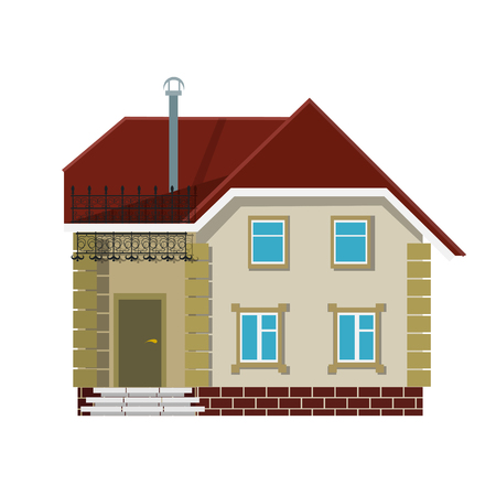 brokerage: Small village house on a white background. The flat style. Color vector image for real estate brokerage site, advertising booklet. Illustration