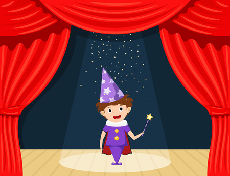 role play: Young magician on stage. Childrens performance. Small actor on stage playing the role of a wizard. A scene from the play. A child in a suit with a magicians wand. Stock illustration