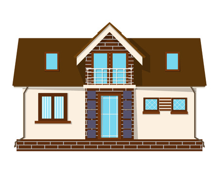 veranda: Beautiful small house with a loft, balcony. Building with an attic. Cozy rural house with a mezzanine. Stock vector illustration