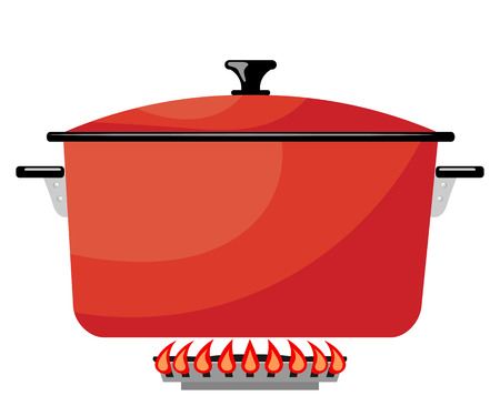 red metal: Cartoon red metal pan on a gas stove. Vector image kitchen pan in the fire. Stock vector illustration Illustration