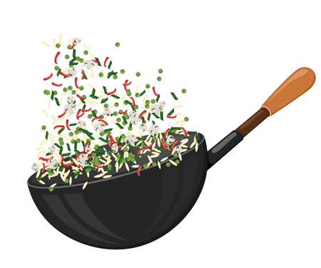 cast iron: Large cast-iron pan with rice and vegetables. Culinary sign. Food Icon. Stock vector  illustration